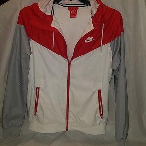 Men's Red, White, Gray Hooded Nike Windbreaker
